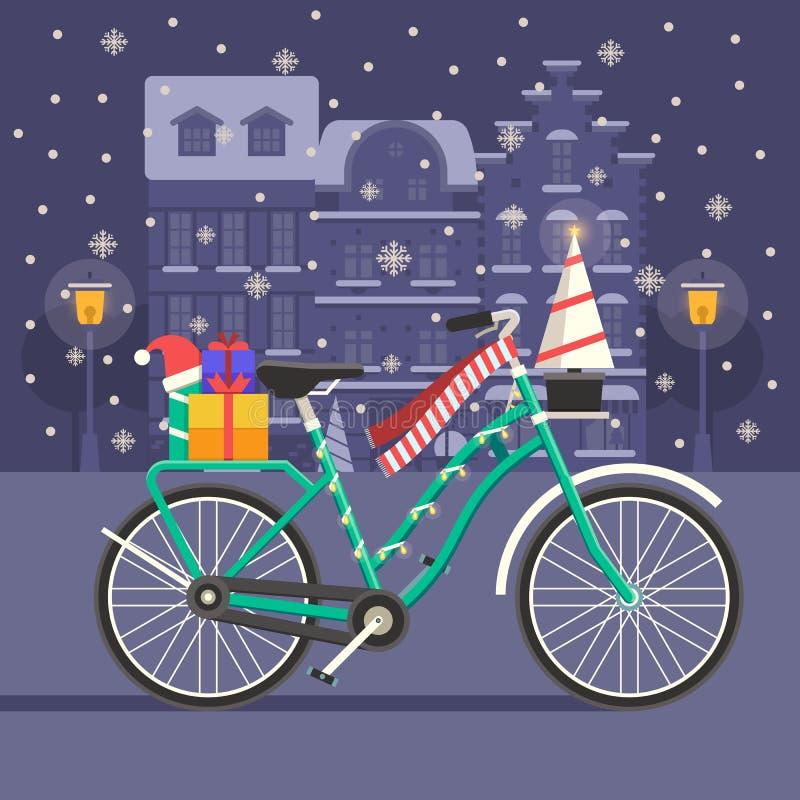 Paysage de vélo de Noël illustration libre de droits