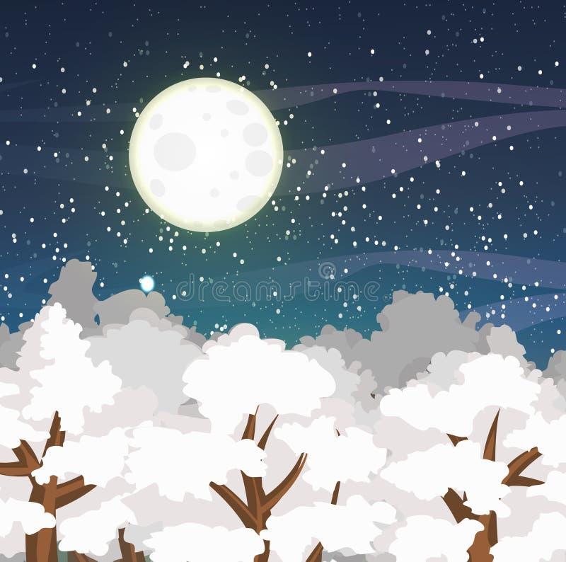 Paysage de vecteur d'hiver avec les dessus des arbres couverts de neige et d'un ciel nocturne étoilé Grande pleine lune illustration libre de droits