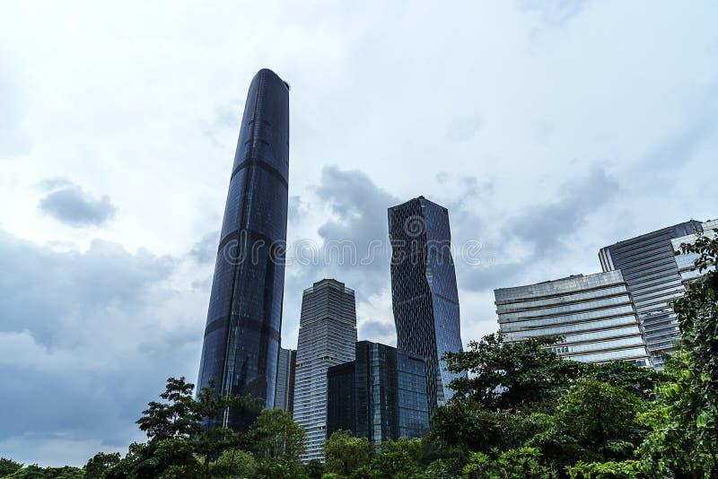 Paysage de ville après tempête de pluie dans Guangzhou Chine photo stock