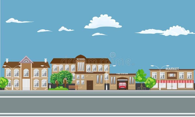 Paysage de ville avec différents bâtiments illustration de vecteur