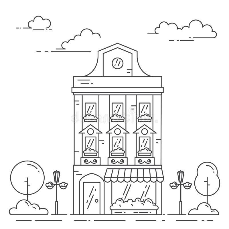 Paysage de ville avec la rétro maison, les arbres et les nuages dans schéma d'isolement sur le fond blanc illustration stock