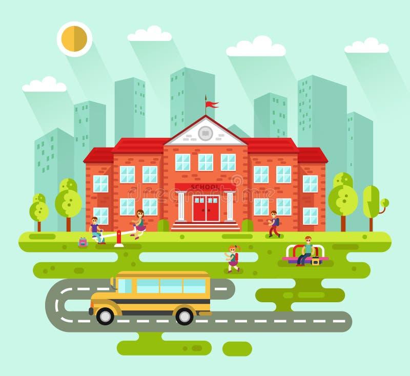 Paysage de ville avec le bâtiment scolaire illustration libre de droits