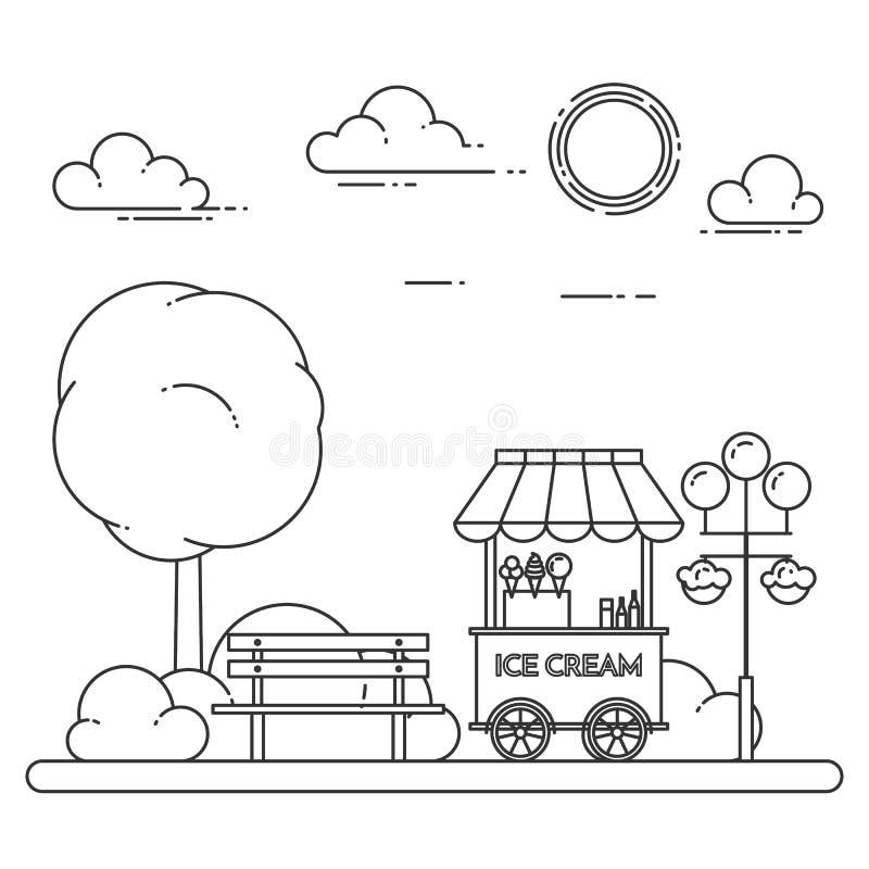 Paysage de ville avec le banc, camion de crème glacée dans Central Park Illustration de vecteur Schéma illustration stock