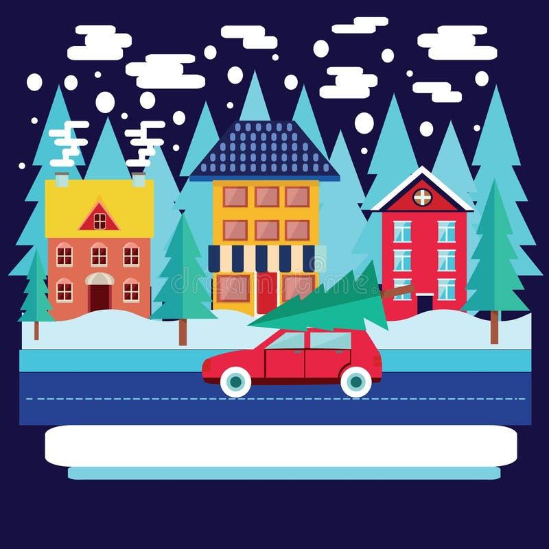 Paysage de ville d'hiver avec des sapins dans le style plat illustration stock