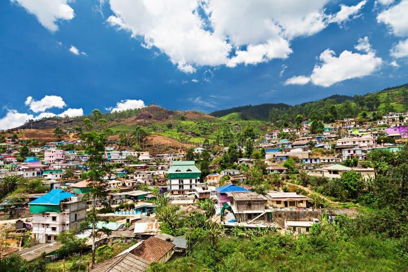 Paysage de ville de Munnar image stock