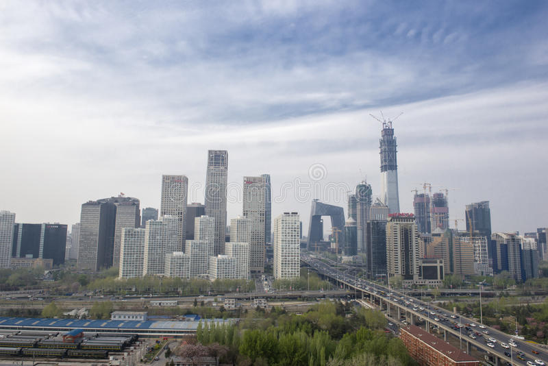 Paysage de ville de nuit dans Pékin, Chine image libre de droits