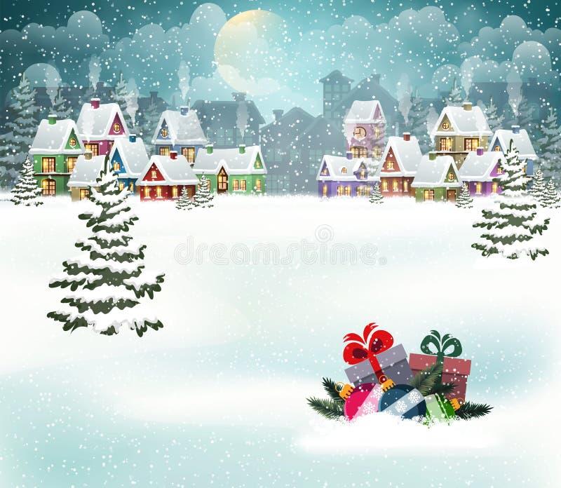 Paysage de ville de vacances d'hiver illustration libre de droits