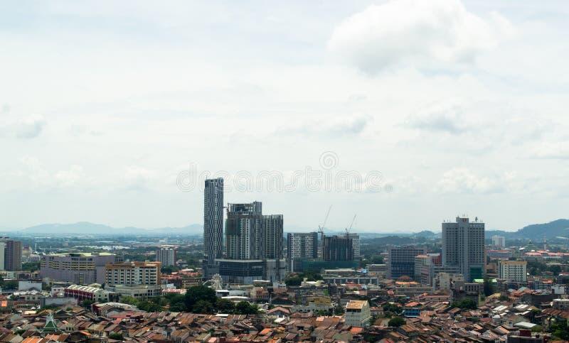 Paysage de ville du Malacca, pris d'en haut images libres de droits