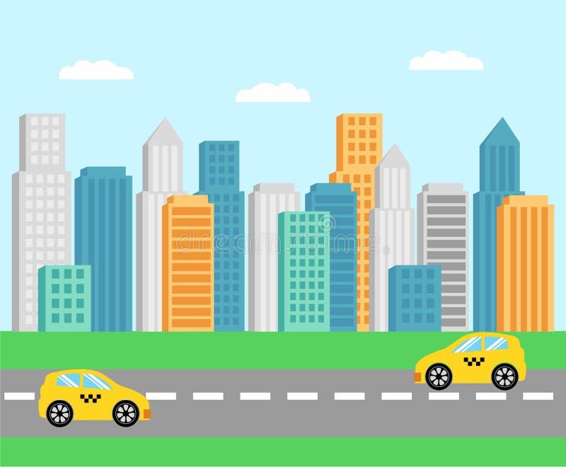 Paysage de ville, rue Gratte-ciel, route Voitures jaunes de taxi sur la route illustration stock