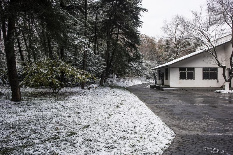 Paysage de Xiamafang après la neige images stock