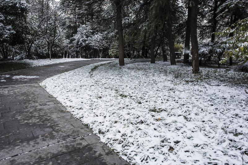 Paysage de Xiamafang après la neige image libre de droits