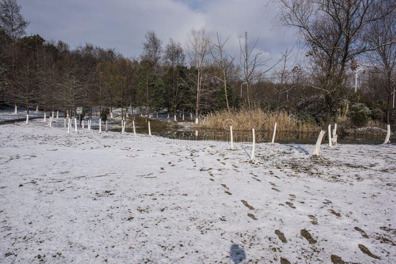 Paysage de Xiamafang après la neige photo libre de droits