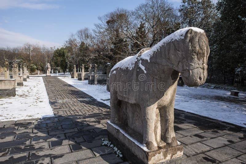 Paysage de Xiamafang après la neige photos libres de droits