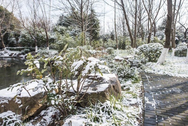 Paysage de Xiamafang après la neige photos stock