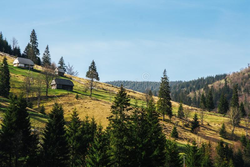 Paysage des collines vertes de montagne couvertes par la forêt de petites maisons image libre de droits