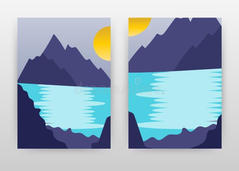 Paysage des montagnes, le soleil, rivière, lac Conception pour le rapport annuel, brochure, insecte, affiche Vecteur de fond de p illustration de vecteur