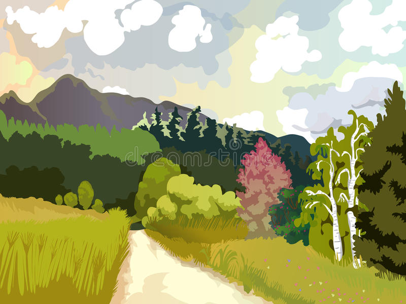 Paysage des roches, des forêts, des clairières avec des fleurs et des bouleaux de montagne Image de vecteur de nature et d'enviro illustration libre de droits