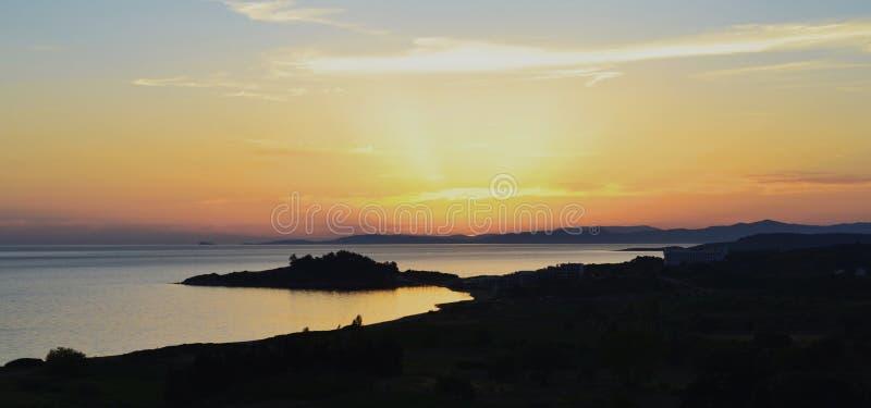 Paysage du coucher du soleil dans le cappadocia, dinde image stock