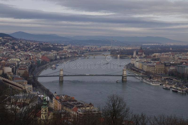 Paysage du Danube de Budapest images libres de droits