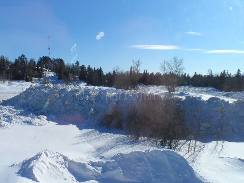 Paysage du nord de neige du Minnesota photos stock