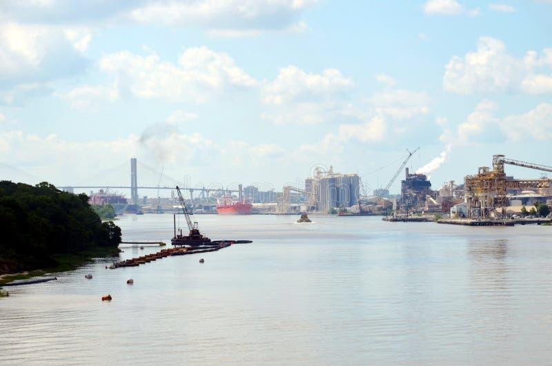 Paysage du port maritime de Savannah, Géorgie photo stock