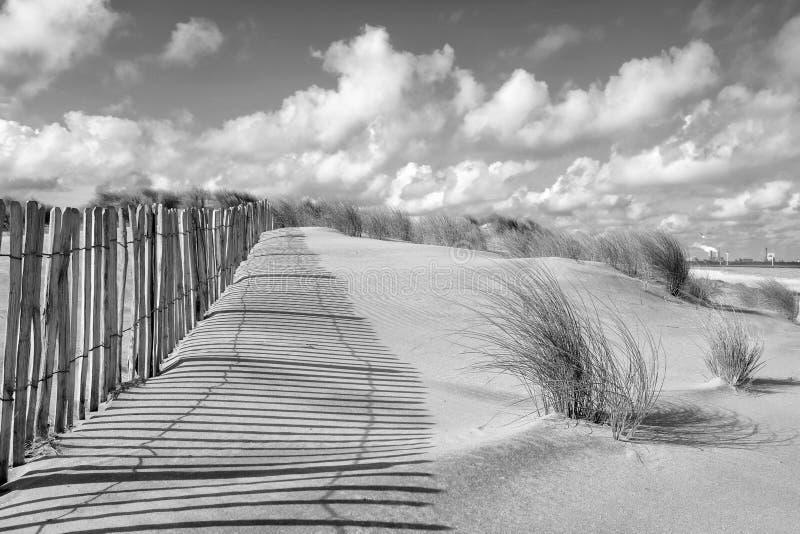 Paysage dunaire et barrière en noir et blanc photographie stock libre de droits