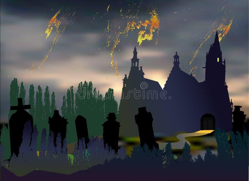 Paysage effrayant de Halloween avec le cimetière, les pierres tombales, la vieille église et les silhouettes des arbres illustration stock
