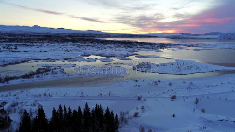 Paysage en parc national de Thingvellir en Islande images libres de droits