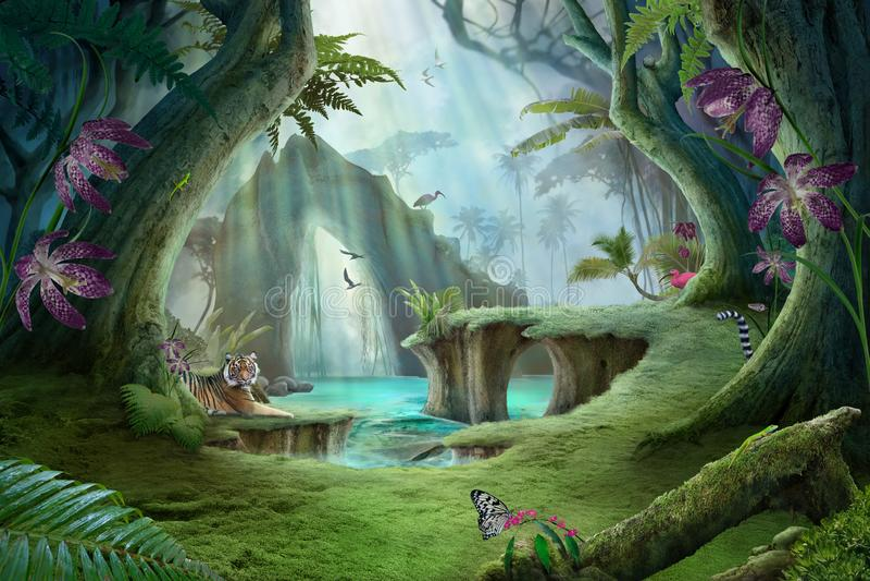 paysage enchanté de lac de jungle avec le tigre illustration stock