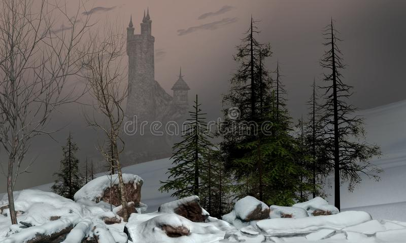 Paysage enchanteur d'hiver avec le château illustration stock