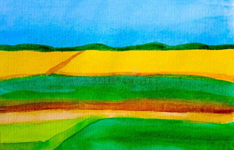Paysage ensoleillé d'aquarelle avec le gisement jaune de graine de colza sur l'horizon avec des prés de ciel bleu et d'herbe vert images stock