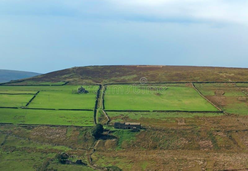 Paysage ensoleillé panoramique de penninite avec de petites vallées entre Rolling Hills avec les murs en pierre de vallées typiqu image libre de droits