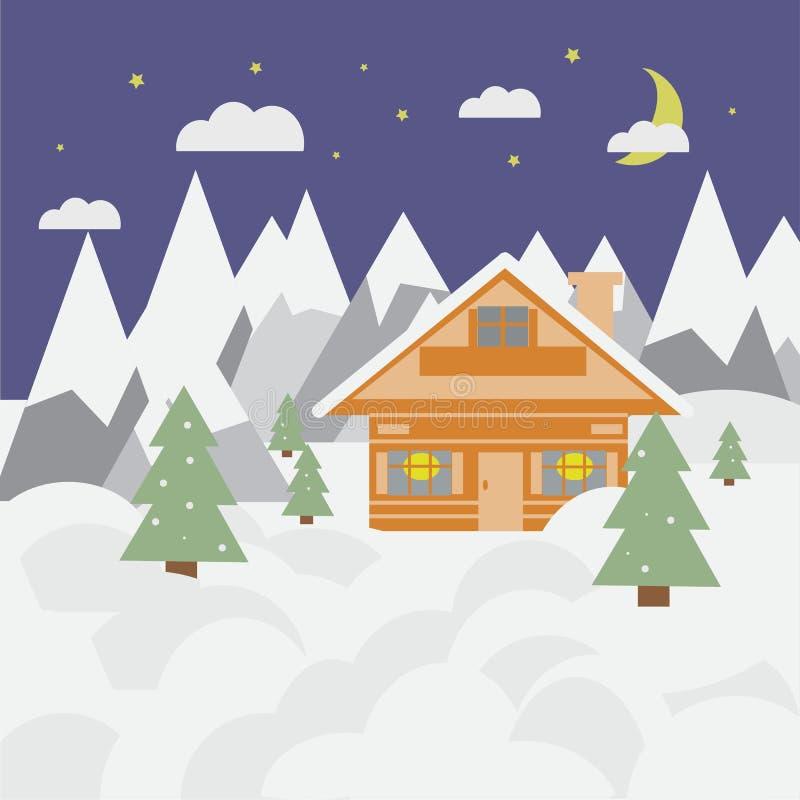 Paysage et chalet de ski dans les montagnes avec la neige et les arbres la nuit image stock