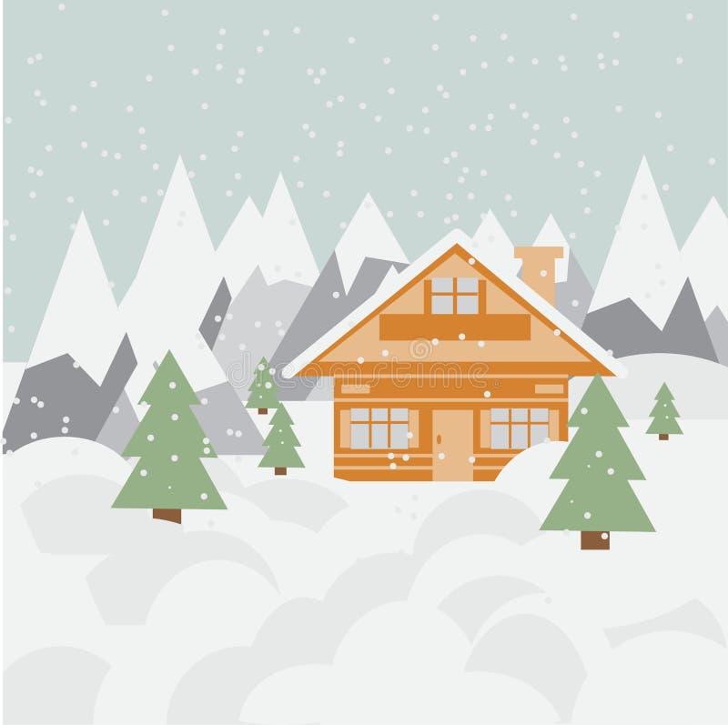 Paysage et chalet de ski en montagnes avec la neige et les arbres image stock