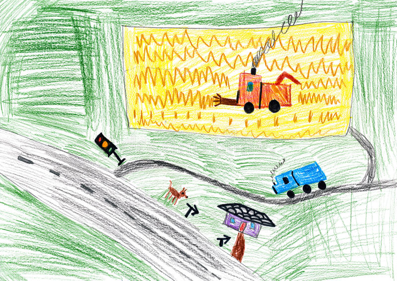 Paysage et r colte d 39 automne dessin d 39 enfant image stock image du crayon dessin 38293325 - Paysage d automne dessin ...