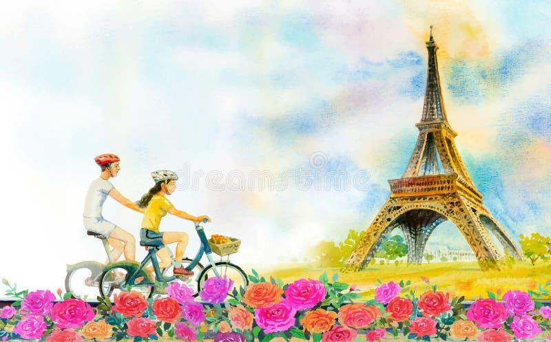 Paysage européen de ville de Paris de voyage et Tour Eiffel de la France illustration libre de droits