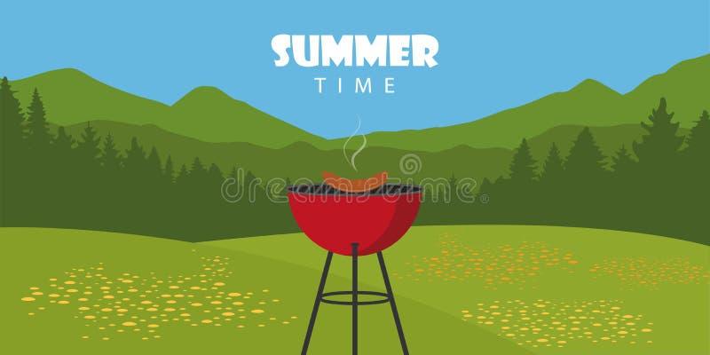 Paysage extérieur de BBQ d'heure d'été avec le barbecue et la saucisse de bouilloire illustration stock