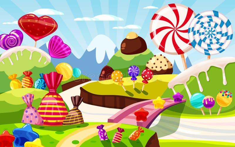 Paysage féerique du monde doux de sucrerie, panorama Bonbons, sucreries, caramel Fond de jeu de bande dessin?e Illustration de ve illustration stock