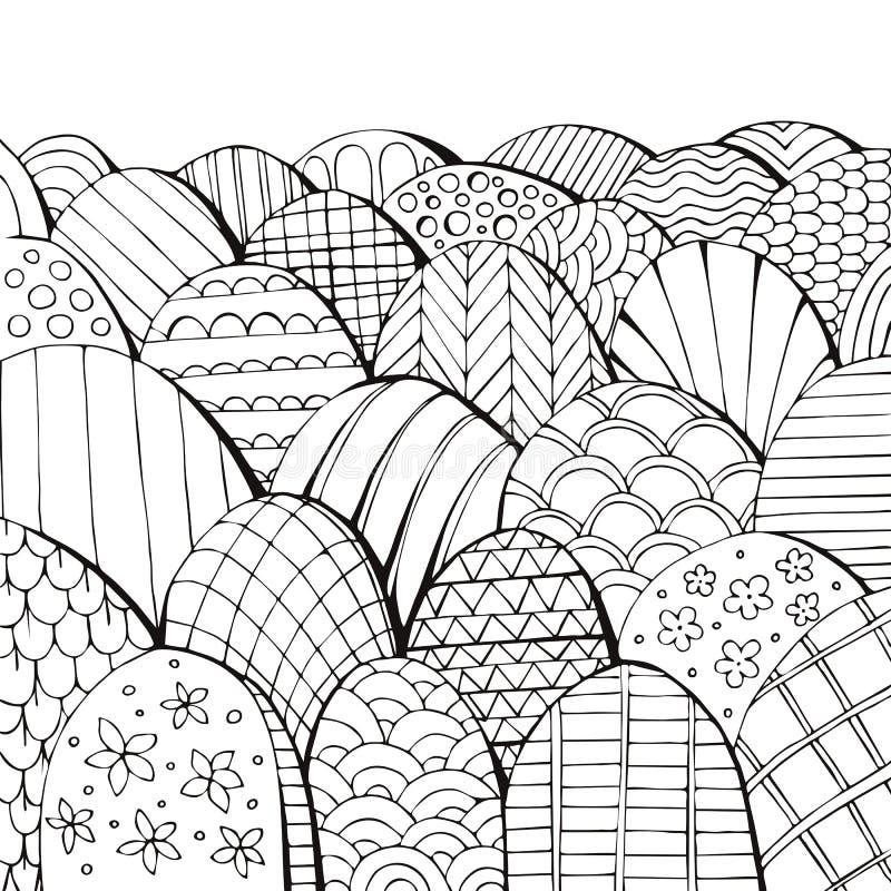Paysage f?erique noir et blanc Livre de coloriage avec diff?rentes collines illustration libre de droits
