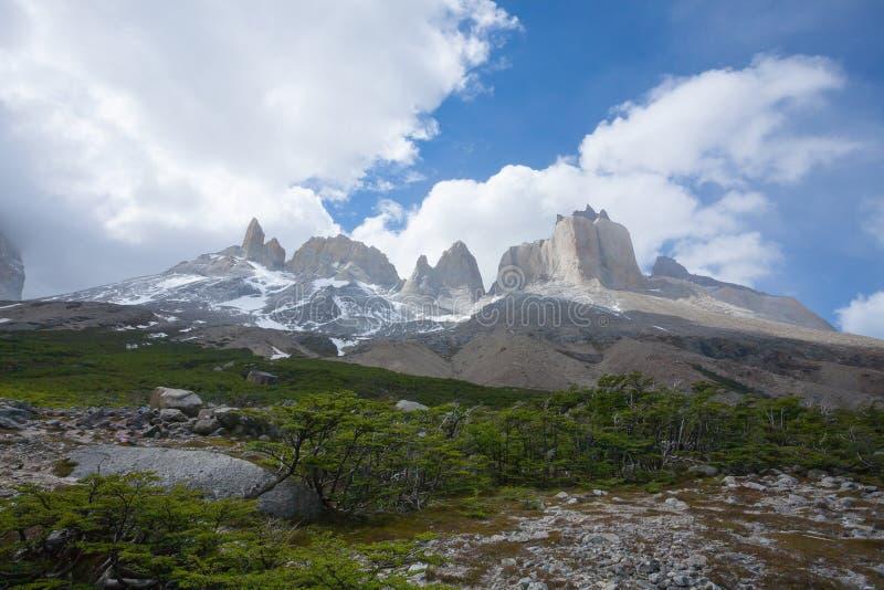 Paysage français de vallée, Torres del Paine, Chili image libre de droits
