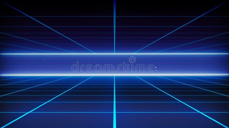 Paysage futuriste de rétro fond de la science fiction des années 80 Surface de Cyber de Digital illustration de vecteur