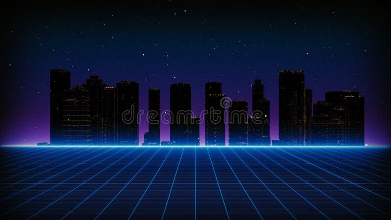 Paysage futuriste de rétro fond de la science fiction des années 80 Surface de Cyber de Digital illustration libre de droits