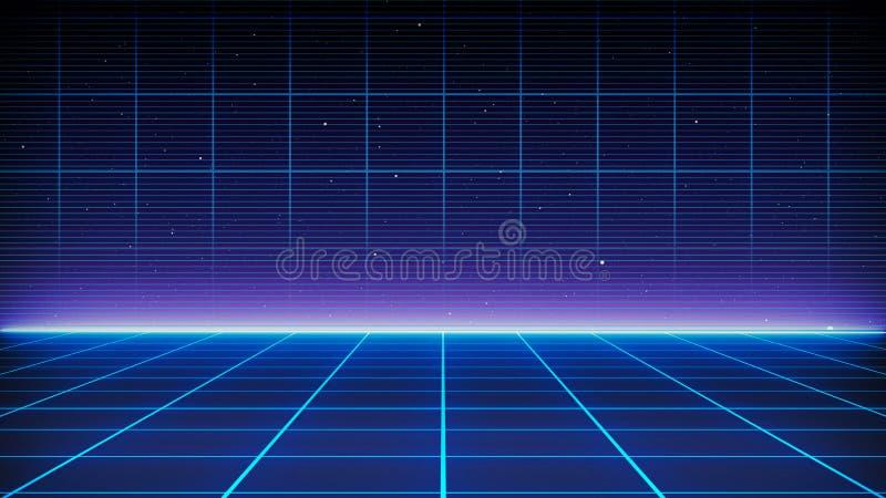 Paysage futuriste de rétro fond de la science fiction des années 80 Surface de Cyber de Digital illustration stock