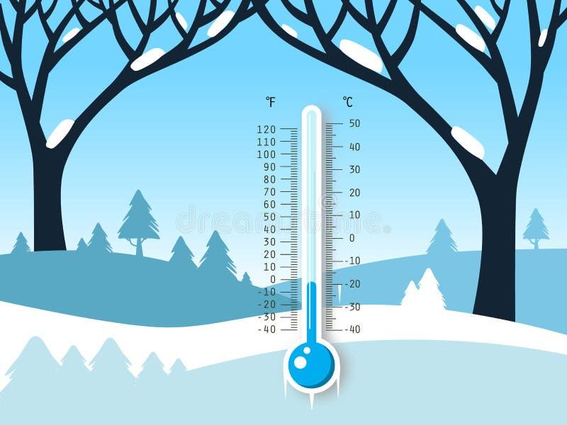 Paysage gelé de vecteur d'hiver avec le champ couvert de neige illustration de vecteur