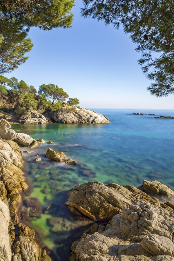 Paysage gentil de l'Espagnol côtier en Costa Brava, Playa de A image stock