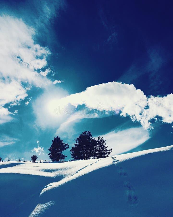 Paysage givré ensoleillé de montagnes images libres de droits