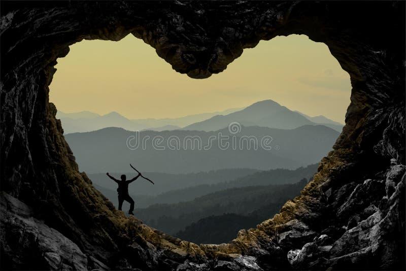 Paysage Hearted de caverne, grimpeur fou et aventure d'exploration images libres de droits