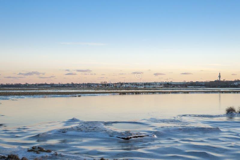 Paysage hivernal dans Heiligenhafen image libre de droits