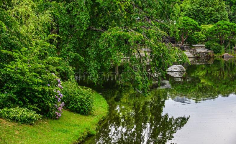 Paysage idyllique de jardin japonais images libres de droits