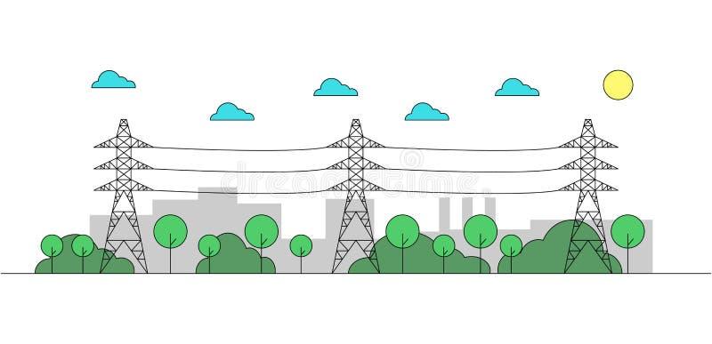 Paysage industriel avec les lignes électriques en acier Courses Editable Illustration linéaire illustration de vecteur